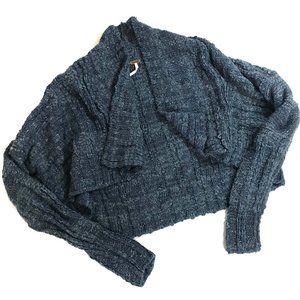Free People XS Blue knit Cropped Cardigan Sweater